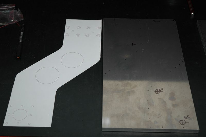 Double checking the paper plot against the aluminium plate for size and position.